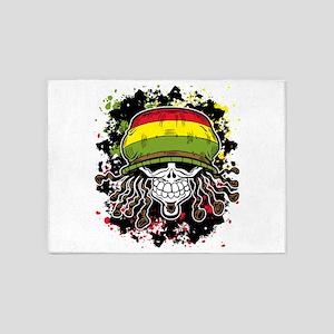 Jamaican Rasta Skull 5'x7'Area Rug