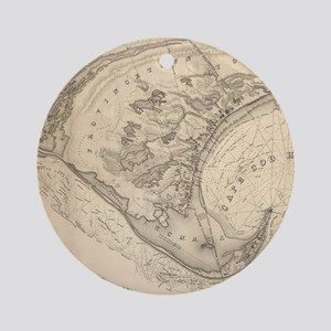 Vintage Map of Provincetown (1836) Round Ornament
