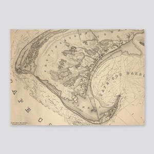 Vintage Map of Provincetown (1836) 5'x7'Area Rug