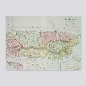 Vintage Map of Puerto Rico (1901) 5'x7'Area Rug