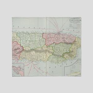 Vintage Map of Puerto Rico (1901) Throw Blanket