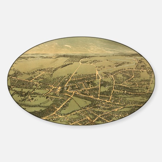 Vintage Pictorial Map of Quincy (18 Sticker (Oval)