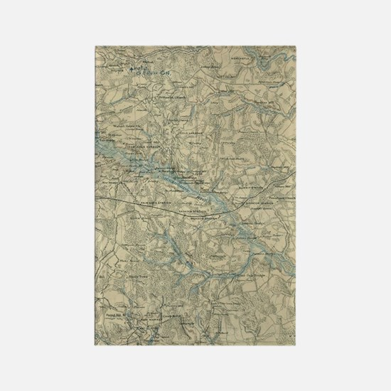 Vintage Map of The Richmond Virgi Rectangle Magnet