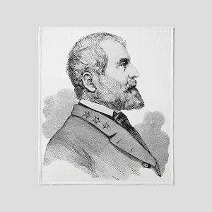 Robert E Lee Portrait Illustration Throw Blanket