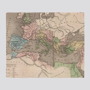 Vintage Map of The Roman Empire (183 Throw Blanket