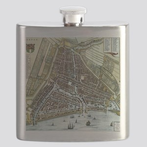 Vintage Map of Rotterdam Netherlands (1649) Flask