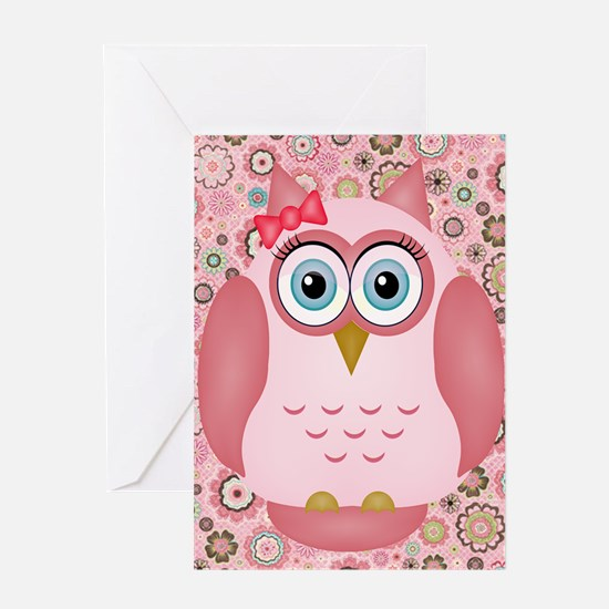 Owl Girl and Flowers Greeting Cards