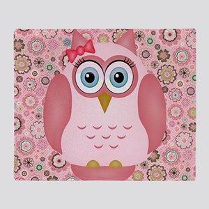 Owl Girl and Flowers Throw Blanket