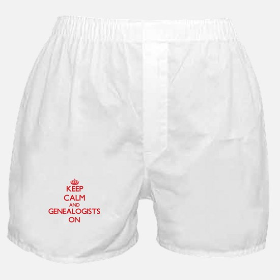 Keep Calm and Genealogists ON Boxer Shorts