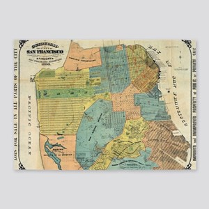 Vintage Map of San Francisco (1890) 5'x7'Area Rug