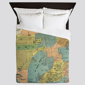 Vintage Map of San Francisco (1890) Queen Duvet