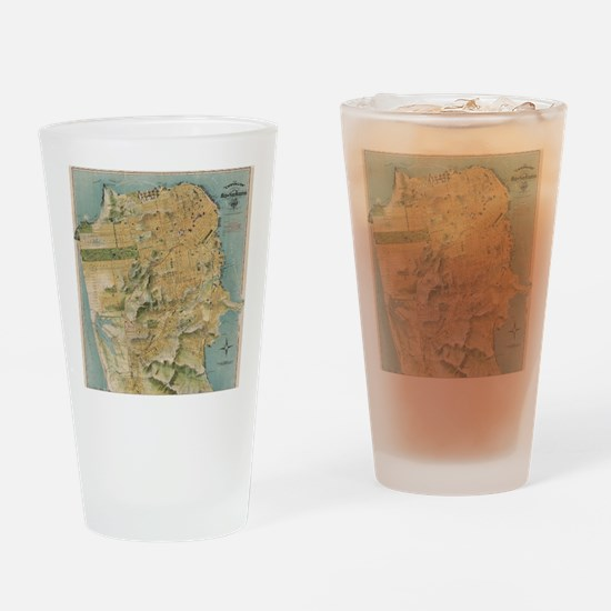 Vintage Map of San Francisco (1915) Drinking Glass