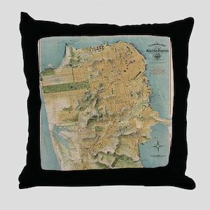 Vintage Map of San Francisco (1915) Throw Pillow