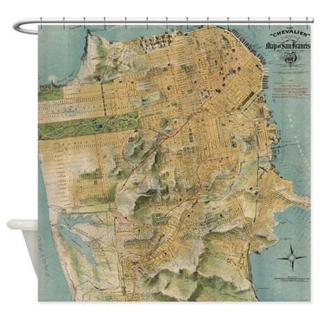Vintage Map of San Francisco (1915) Shower Curtain by listing-store ...