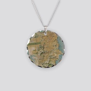 Vintage Map of San Francisco Necklace Circle Charm