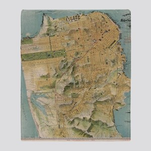 Vintage Map of San Francisco (1915) Throw Blanket