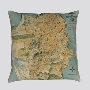 Vintage Map of San Francisco (1915 Everyday Pillow