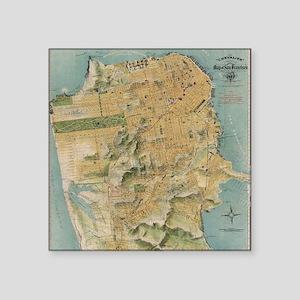 "Vintage Map of San Francisc Square Sticker 3"" x 3"""
