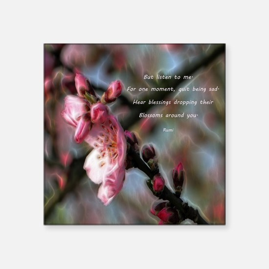 """Poem from Rumi 2 Square Sticker 3"""" x 3"""""""