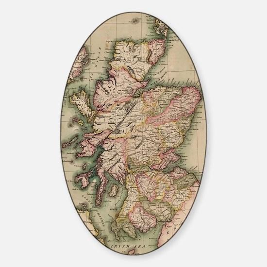 Vintage Map of Scotland (1814) Sticker (Oval)