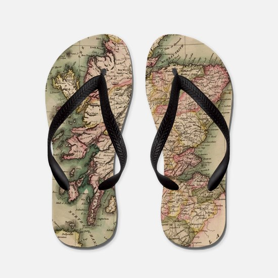 Vintage Map of Scotland (1814) Flip Flops