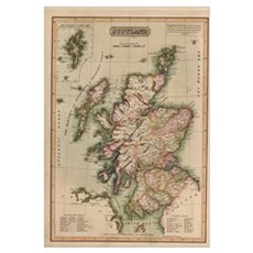 Vintage Map of Scotland (1814) Poster