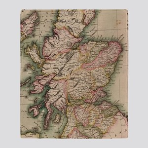 Vintage Map of Scotland (1814) Throw Blanket