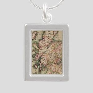 Vintage Map of Scotland  Silver Portrait Necklace