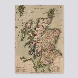 Vintage Map of Scotland (1814) 5'x7'Area Rug