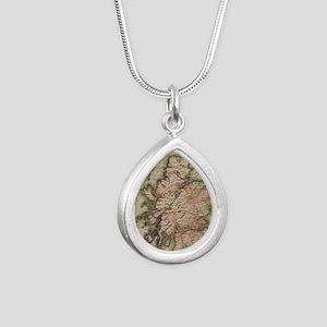 Vintage Map of Scotland  Silver Teardrop Necklace
