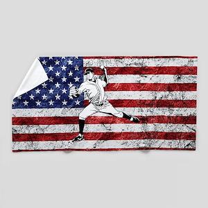 Baseball Player On American Flag Beach Towel