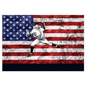 Baseball American Flag Wall Art - CafePress d3e04f9c184