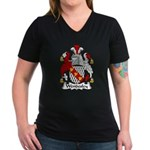 Wendesley Family Crest Women's V-Neck Dark T-Shirt