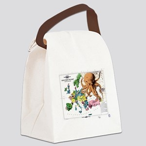 Vintage Political Cartoon Map of  Canvas Lunch Bag