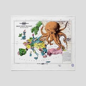 Vintage Political Cartoon Map of Eur Throw Blanket