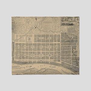 Vintage Map of Savannah Georgia (181 Throw Blanket