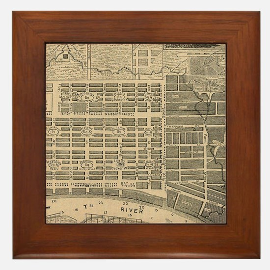 Vintage Map of Savannah Georgia (1818) Framed Tile