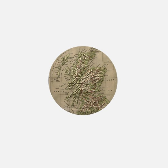 Vintage Physical Map of Scotland (1880 Mini Button