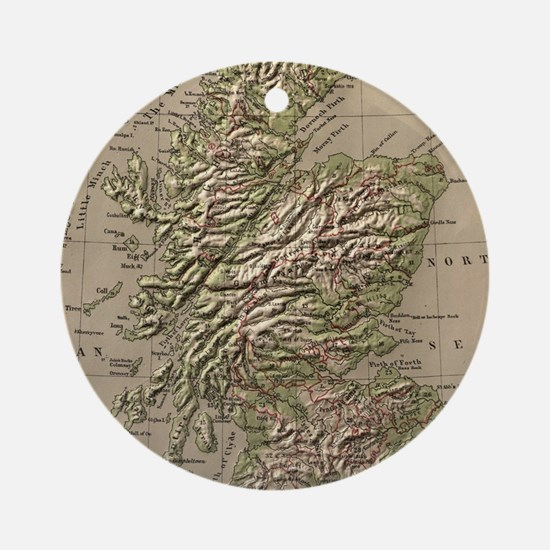 Vintage Physical Map of Scotland (1 Round Ornament