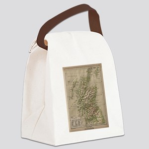 Vintage Physical Map of Scotland  Canvas Lunch Bag
