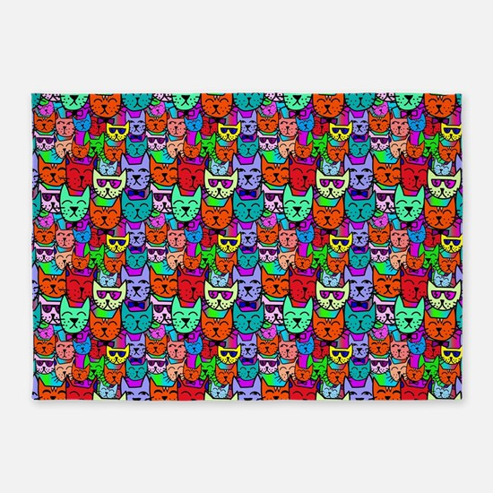 Colorful Rainbow Cats 5'x7'Area Rug