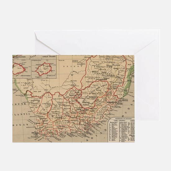 Vintage Map of South Africa (1880) Greeting Card