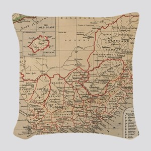 Vintage Map of South Africa (1 Woven Throw Pillow