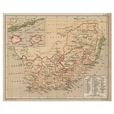 Vintage Map of South Africa (1880) Canvas Art