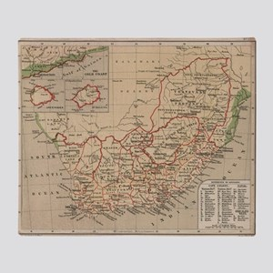 Vintage Map of South Africa (1880) Throw Blanket