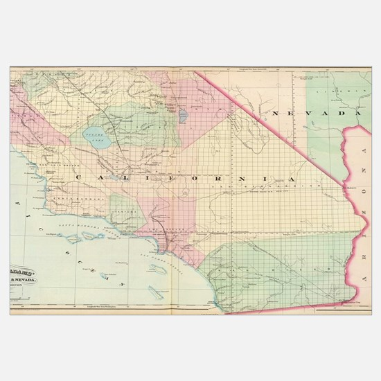 Vintage Map of Southern California (1874)