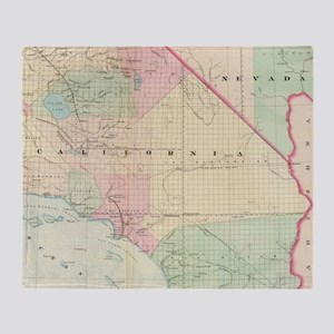 Vintage Map of Southern California ( Throw Blanket
