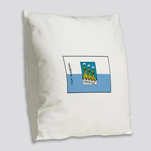 San Marino Flag Burlap Throw Pillow