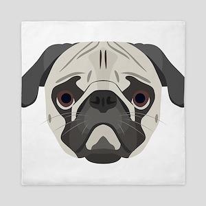 Illustration dogs face Pug Queen Duvet