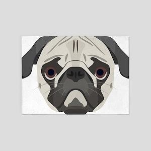 Illustration dogs face Pug 5'x7'Area Rug